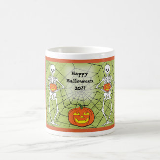 Skeletons holding pumpkins with web background magic mug