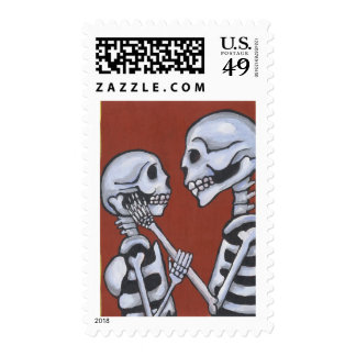 Skeletons in Love Postage Stamps