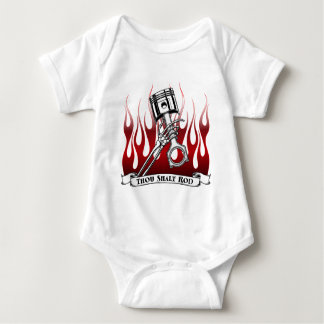 Skeletons, Pistons and Flames Apparel Baby Bodysuit