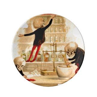 Skeletons Poison Drugs Pharmacist Halloween Magic Porcelain Plate