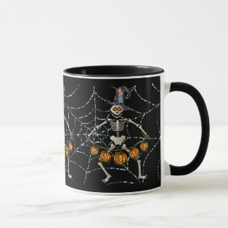 SKELETONS & PUMPKIN GARLAND & WEB by SHARON SHARPE Mug