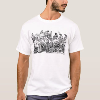 Skeletons Riding Bikes circa late 1800's Mexico T-Shirt