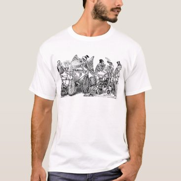 Halloween Themed Skeletons Riding Bikes circa late 1800's Mexico T-Shirt