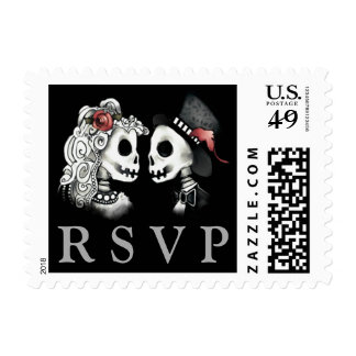 Skeletons RSVP Black Red White Wedding Postage