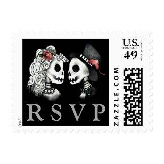 Skeletons RSVP Black Red White Wedding Postage