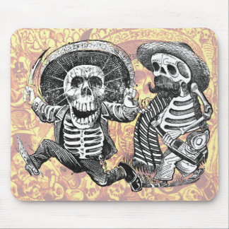Skeletons with machete and booze mouse pad