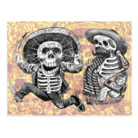 Skeletons with machete and booze postcard