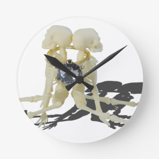SkeletonsChokedByEngagementRing070515 Round Clock