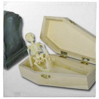 SkeletonSittingCoffinHeadstone070315 Cloth Napkin