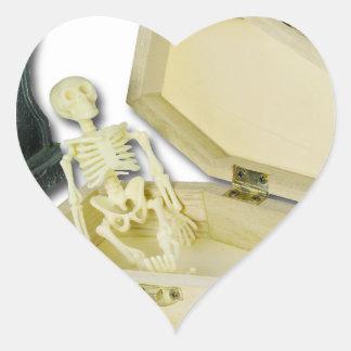 SkeletonSittingCoffinHeadstone070315 Heart Sticker