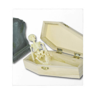 SkeletonSittingCoffinHeadstone070315 Notepad