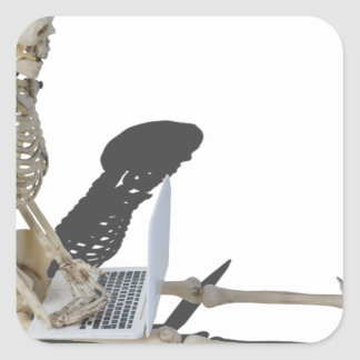 SkeletonWithLaptop032215 Square Sticker