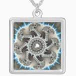 Skelewheel - Fractal Art Silver Plated Necklace
