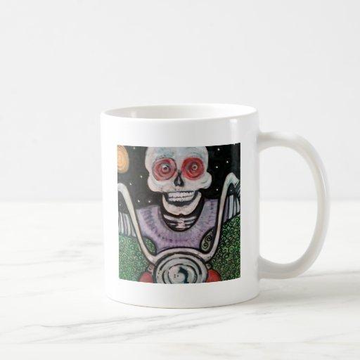 skelliton riding motorcycle. classic white coffee mug