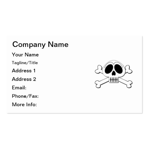 Skelly Basic Cute Skull and Crossbones Business Card