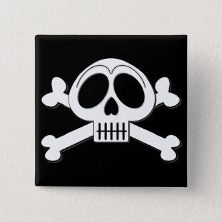 Skelly Basic Cute Skull and Crossbones Pinback Button