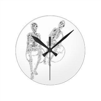 Skeltie Skeletons Black White Decor Clock Funny