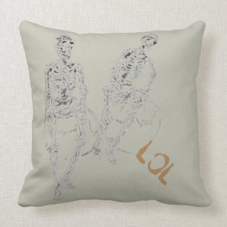 Skeltie Skeletons LOL Laughter Humor Funny Decor 2 Throw Pillow