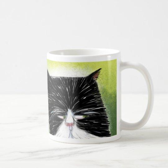 Skeptical cat coffee mug