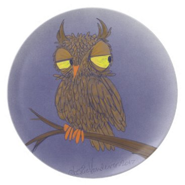 Halloween Themed Skeptical Owl Dinner Plate