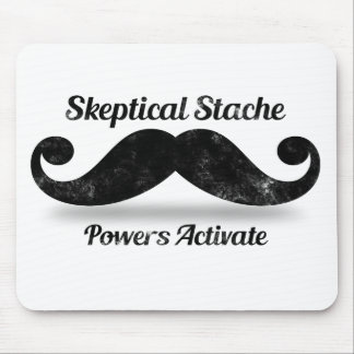 Skeptical Stache Powers Activate Mouse Pad