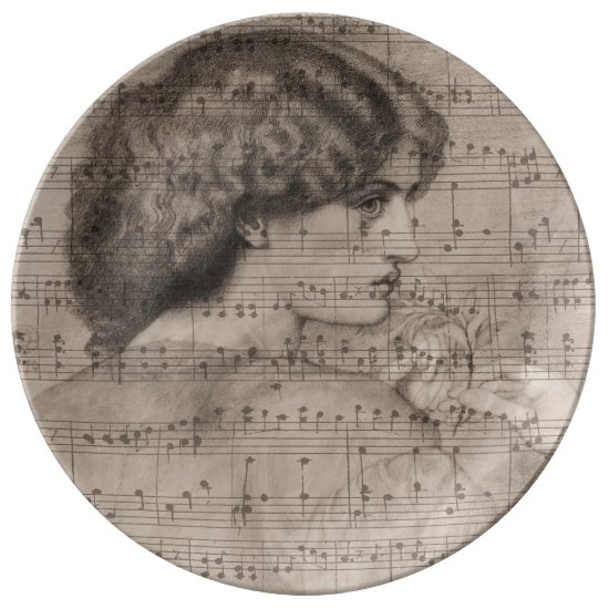 Sketch Classic Woman & Sheet Music Plate