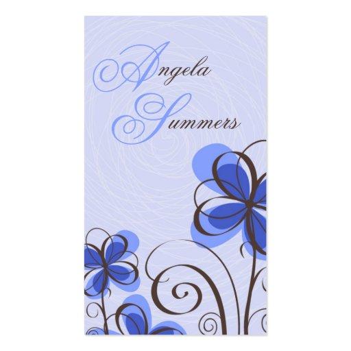 Sketch Floral Print - Blue Business Card
