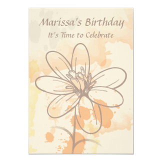 Sketch flower and watercolour Birthday invitations