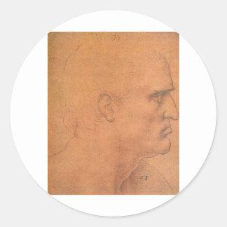 Sketch for Leonardo da Vinci's Last supper Classic Round Sticker