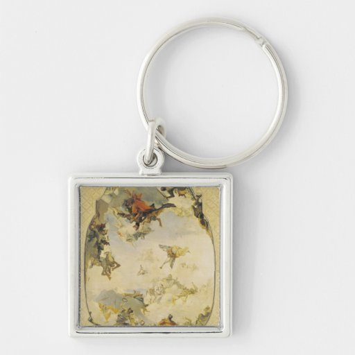 Sketch for The Apotheosis of the Pisani Family Silver-Colored Square Keychain