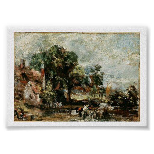 Sketch for 'The Haywain', c.1820 (oil on paper on Poster