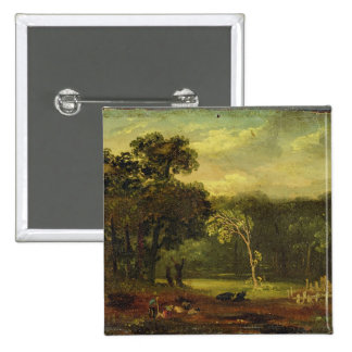 Sketch from Nature in Sion Park, 1819 (oil on card 2 Inch Square Button
