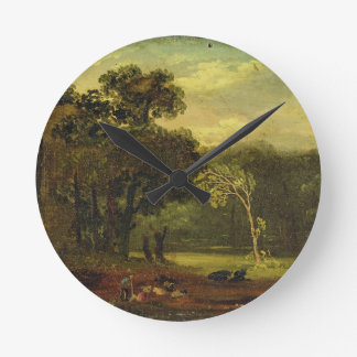 Sketch from Nature in Sion Park, 1819 (oil on card Round Wall Clocks
