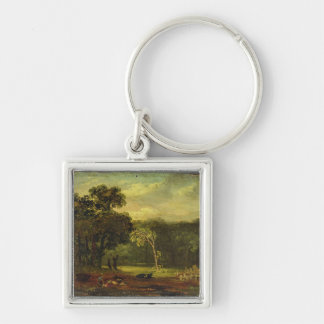 Sketch from Nature in Sion Park, 1819 (oil on card Silver-Colored Square Keychain