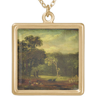 Sketch from Nature in Sion Park, 1819 (oil on card Square Pendant Necklace