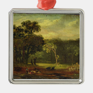 Sketch from Nature in Sion Park, 1819 (oil on card Square Metal Christmas Ornament