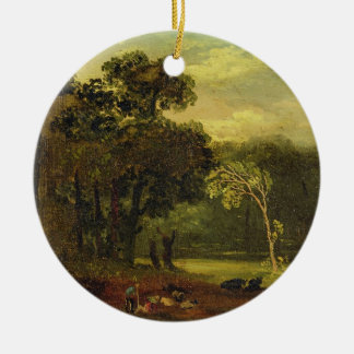 Sketch from Nature in Sion Park, 1819 (oil on card Double-Sided Ceramic Round Christmas Ornament