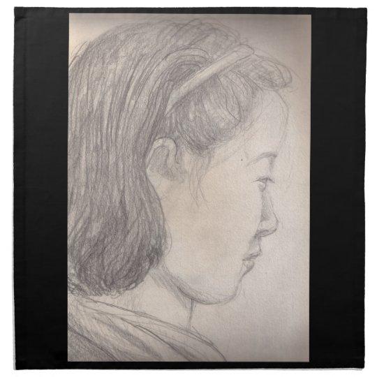 sketch Japanese girl Napkin
