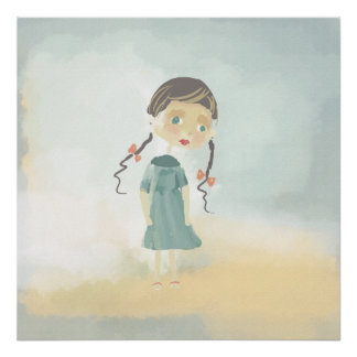 sketch of a cartoon girl Poster