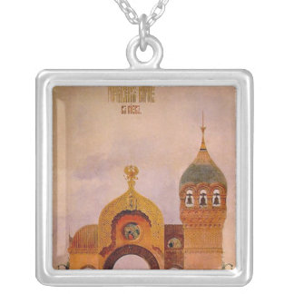Sketch of a gate in Kiev Silver Plated Necklace