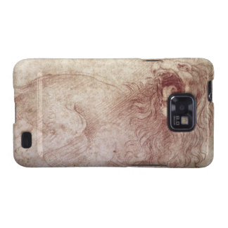 Sketch of a roaring lion (red chalk on paper) samsung galaxy SII case