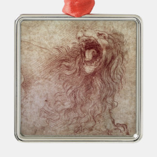Sketch of a roaring lion (red chalk on paper) metal ornament