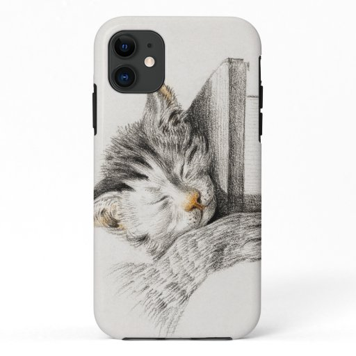 Sketch of a sleeping cat poster iPhone 11 case