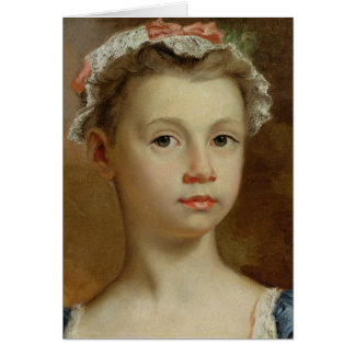Sketch of a Young Girl, c.1730-40 (oil on canvas) Card
