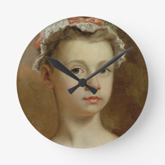 Sketch of a Young Girl, c.1730-40 (oil on canvas) Round Clock