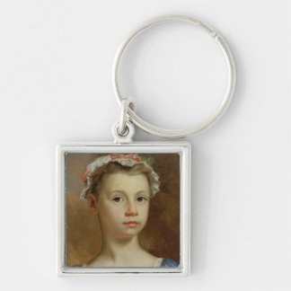 Sketch of a Young Girl, c.1730-40 (oil on canvas) Silver-Colored Square Keychain
