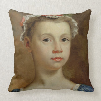 Sketch of a Young Girl, c.1730-40 (oil on canvas) Throw Pillow