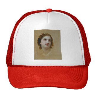 Sketch of a Young Woman by William Bouguereau Mesh Hats