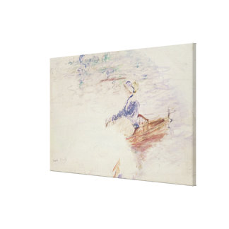 Sketch of a Young Woman in a Boat, 1886 (w/c on ca Canvas Print