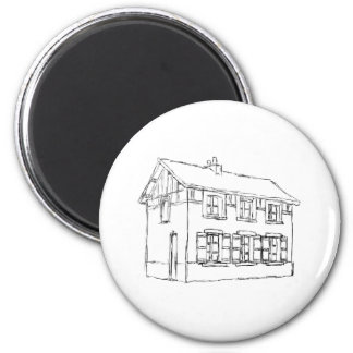Sketch of an Old House, with Shutters. 2 Inch Round Magnet